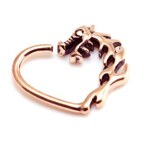 Rose Gold PVD Steel Dragon Daith Heart Continuous Ring
