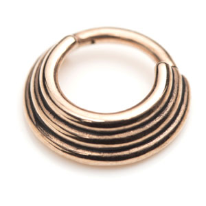 Hinged septum stack banded septum ring in rose gold PVD steel. 1.2mm gauge for healed septum piercings