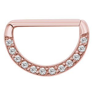 rose gold pvd steel pave set multi-jewelled clear/cz Swarovski crystal nipple clicker 1.6mm