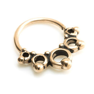 Rose gold PVD steel Boho style twist open ring in 1.0mm