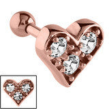 Rose Gold PVD Steel Triple Jewelled Heart Tragus Bar 1.2mm