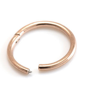 Rose gold PVD titanium hinged segment ring 1.2mm x 8mm & 10mm