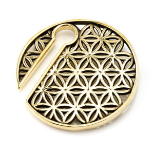 Flower Of Life geometric pattern keyhole slotted circular brass ear weight 8mm