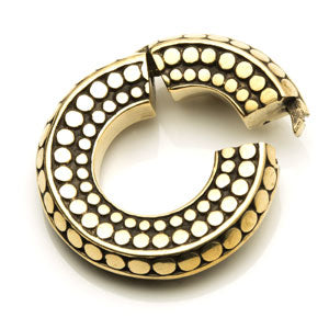 Hinged dotted circle round/circular brass ear stretching weight for stretched lobes 12mm and above