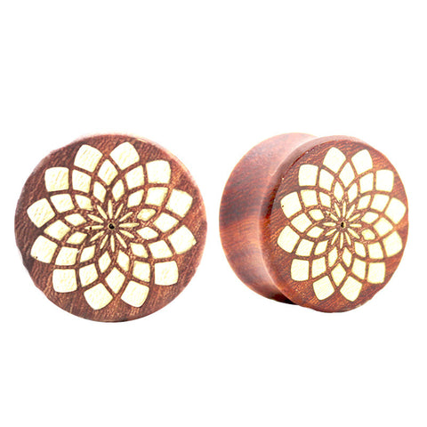 Gold Inlaid Mandala Front Saba Wood Double Flared Plug