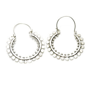 Pair of silver plated brass/white brass circles pattern tunnel jewellery/tunnel drop hoop earrings. Suitable for standard pierced ears or to wear through tunnels in any size stretched lobes.