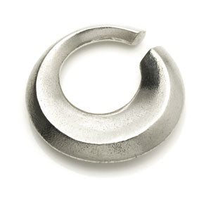 Silver plated white brass concave circle ear stretching weight for stretched lobes 6mm+