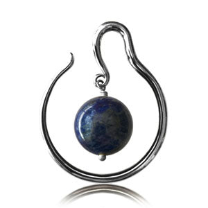 Silver plated white brass hoop ear weight with suspended Lapis Lazuli stone. Can be worn in any stretched ear 4mm and above