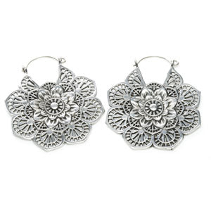 Silver plated white brass mandala flower hoop earrings, sold in pairs. Suitable for standard pierced ears or wear through tunnels in stretched ears as tunnel drop type jewellery