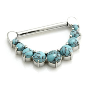 Turquoise dyed howlite surgical steel nipple clicker in 1.6mm with 12mm - 16mm internal diameters