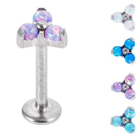 Internally threaded implant grade titanium labret stud with stunning synthetic opal trinity top attachment 1.2mm