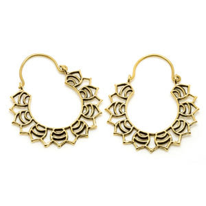 Tribal brass hoop tunnel drop earrings. 1mm gauge, sold in pairs