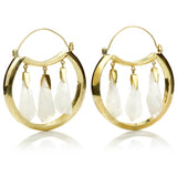 Huge polished brass hoop earring with three stunning Quartz crystal stone chunks suspended inside.