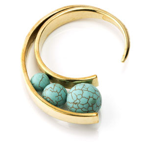 Turquoise triple bead circular brass open ear weight 6mm