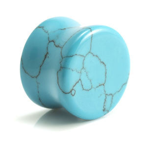 Turquoise Dyed Howlite Double Flared Plug