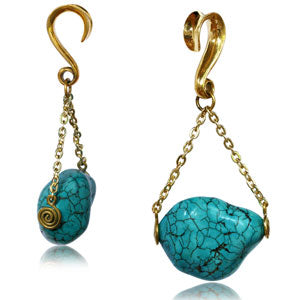 Real Turquoise crystal stone hanging pendant/pendulum ear weight for stretched ears 6mm or above