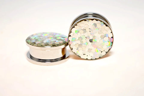 316L surgical steel screwback threaded flesh tunnel with silver resin covered shimmering glitter scales front 6mm - 24mm