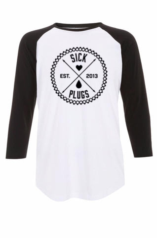 Unisex Sick Plugs Logo white/black front print baseball tee shirt XS - XL