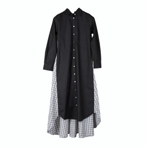 Maaya Long Length - Black/Gingham Poplin - PROJECT 6, modest fashion