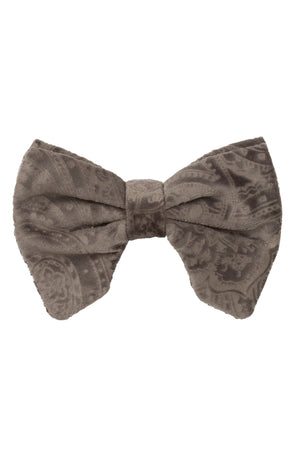 Beauty & The Beast Bowtie/Hair Clip - Smoke Grey Paisely Suede - PROJECT 6, modest fashion
