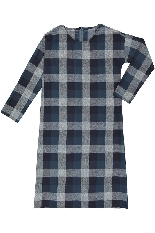 DALES - Blue/Navy Twill Check Cotton - PROJECT 6, modest fashion