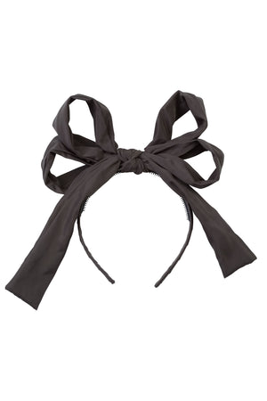 Double Party Bow Headband - Charcoal - PROJECT 6, modest fashion