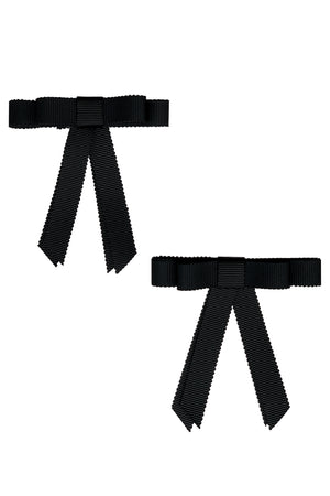 Grosgrain Bow Clip Set (2) - Black - PROJECT 6, modest fashion