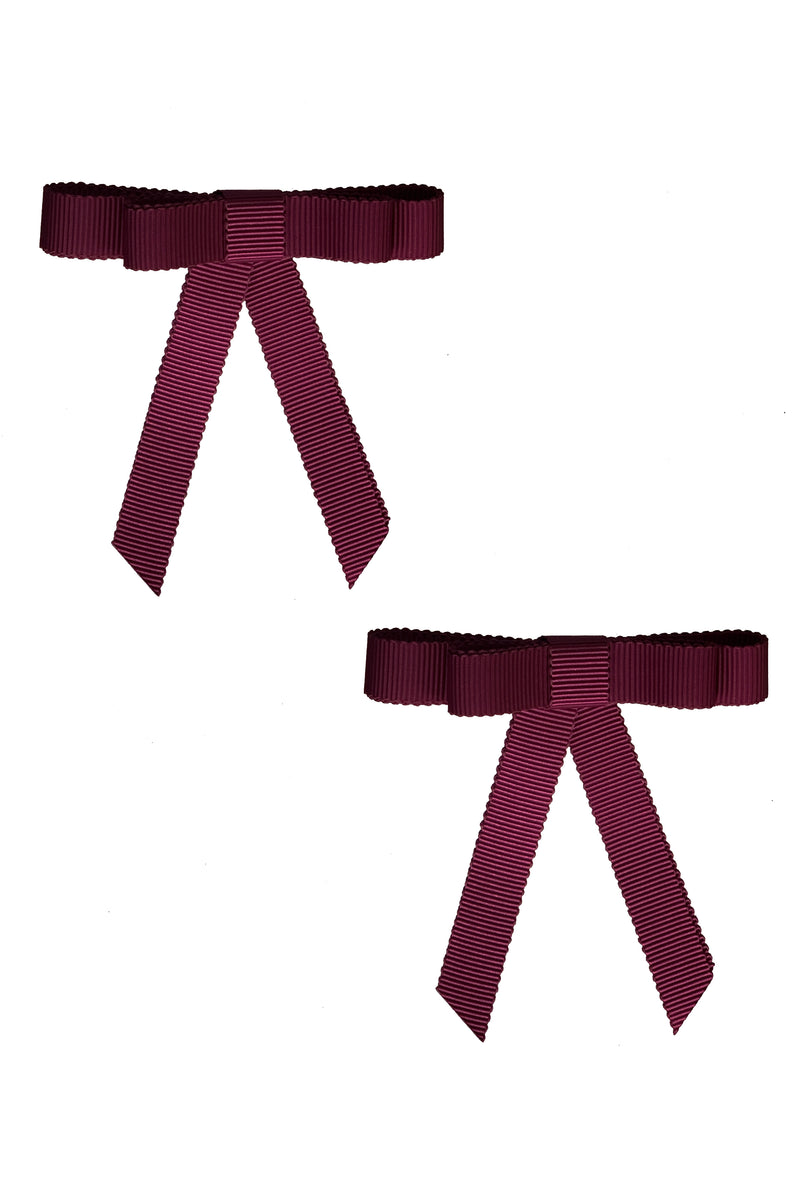 Grosgrain Bow Clip Set (2) - Wine - PROJECT 6, modest fashion