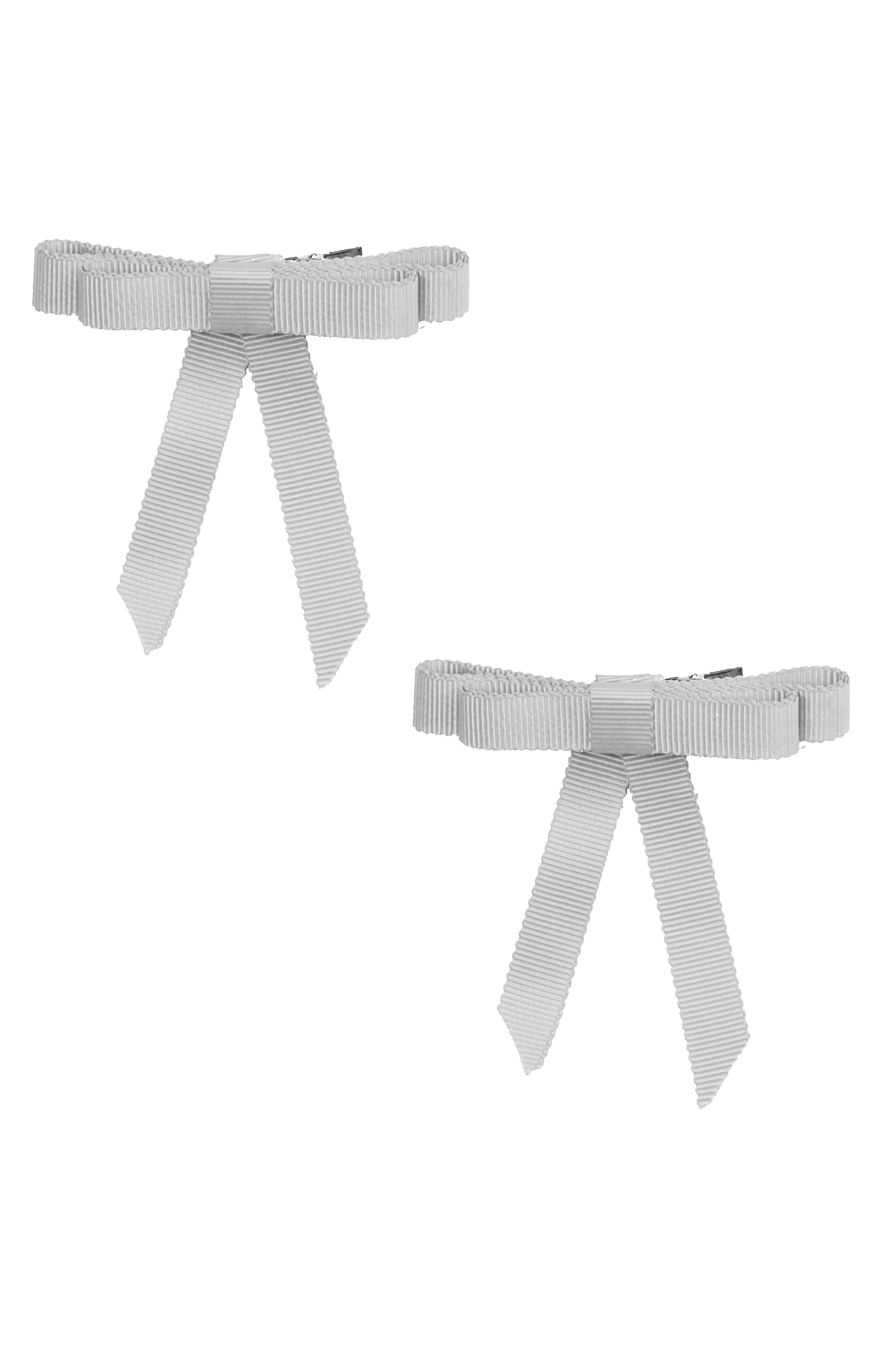 Grosgrain Bow Clip Set (2) - Light Grey - PROJECT 6, modest fashion
