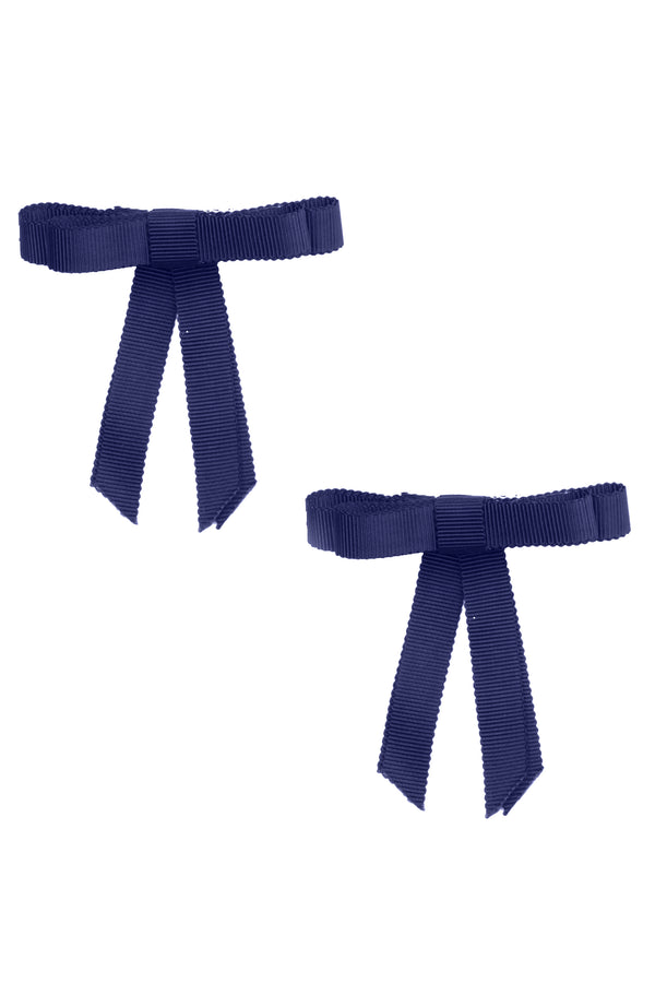 Grosgrain Bow Clip Set (2) - Navy - PROJECT 6, modest fashion