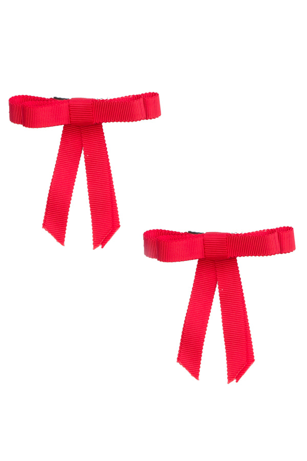 Grosgrain Bow Clip Set (2) - Poppy Red - PROJECT 6, modest fashion