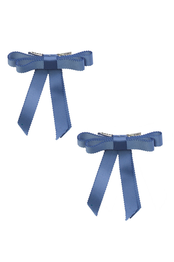 Grosgrain Bow Clip Set (2) - Smoke Blue - PROJECT 6, modest fashion