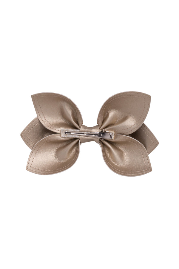 Growing Orchid Clip/Bowtie - Gold Leather