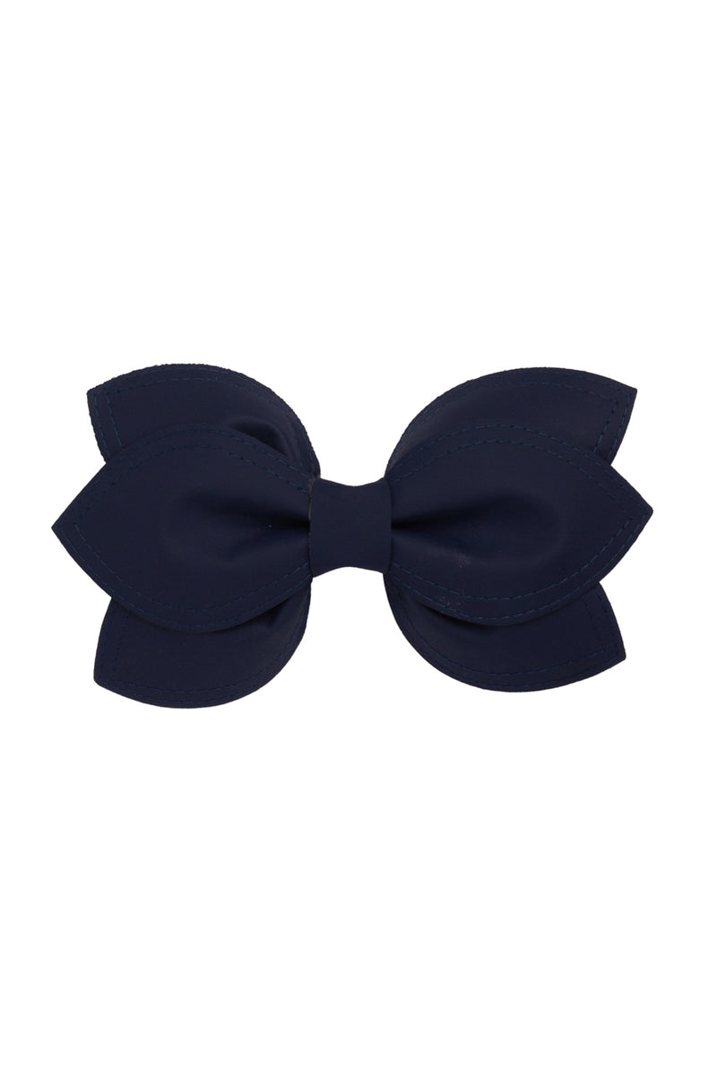 Growing Orchid Clip/Bowtie - Navy Leather