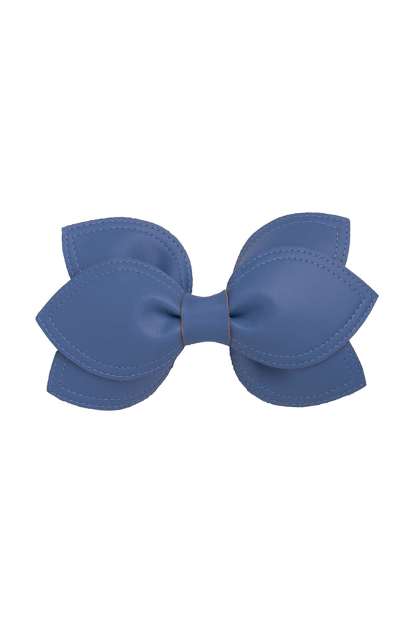 Growing Orchid Clip/Bowtie - Smoke Blue Leather
