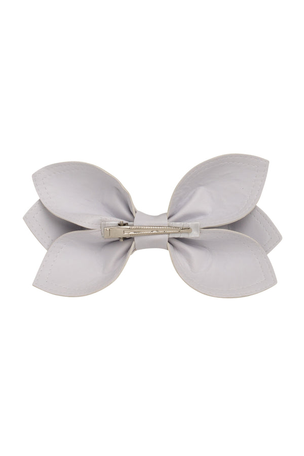 Growing Orchid Clip/Bowtie - White Leather