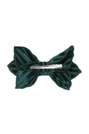 Growing Orchid Clip - Hunter Green Velvet Stripe
