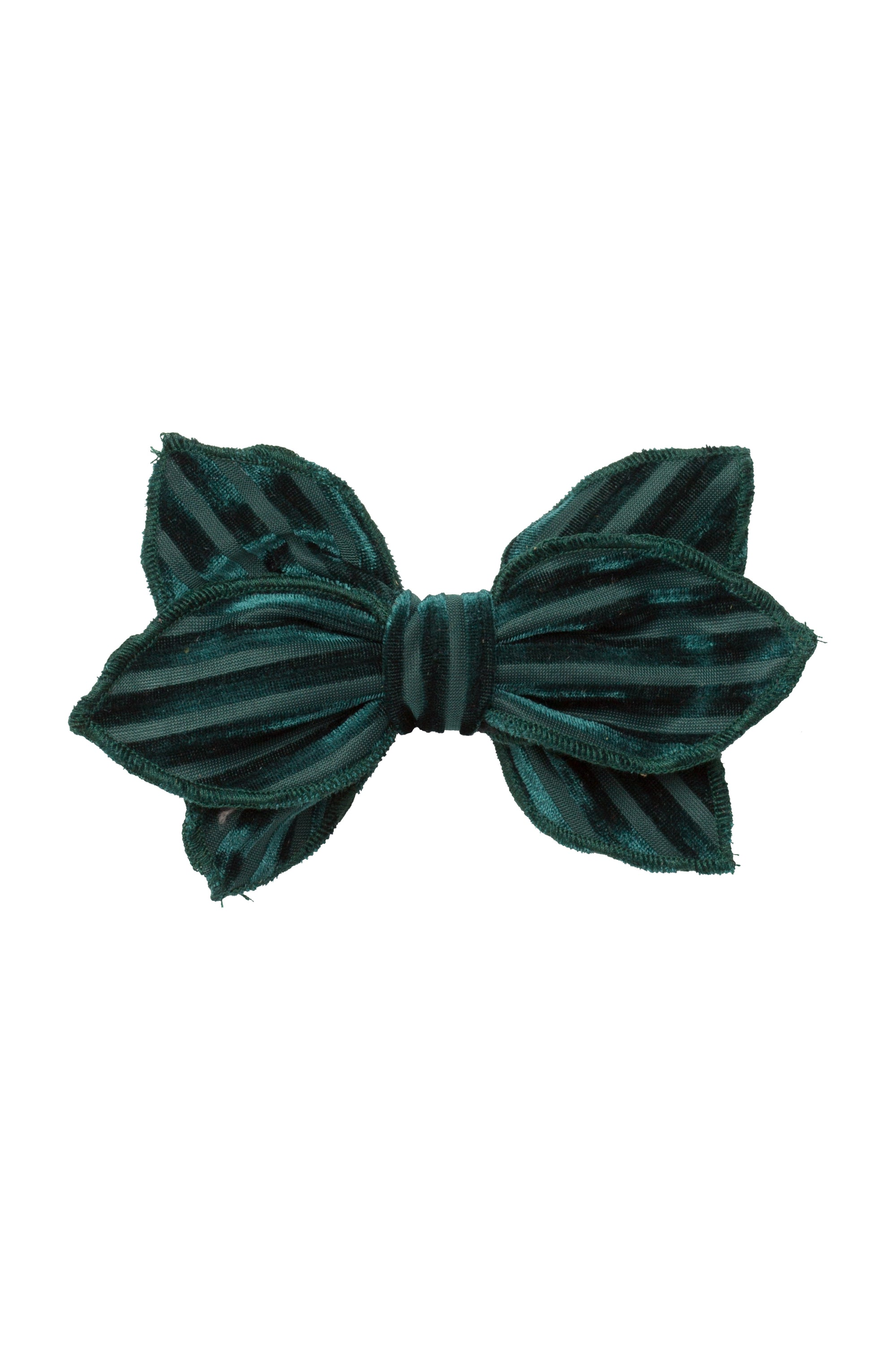 Growing Orchid Clip - Hunter Green Velvet Stripe - PROJECT 6, modest fashion