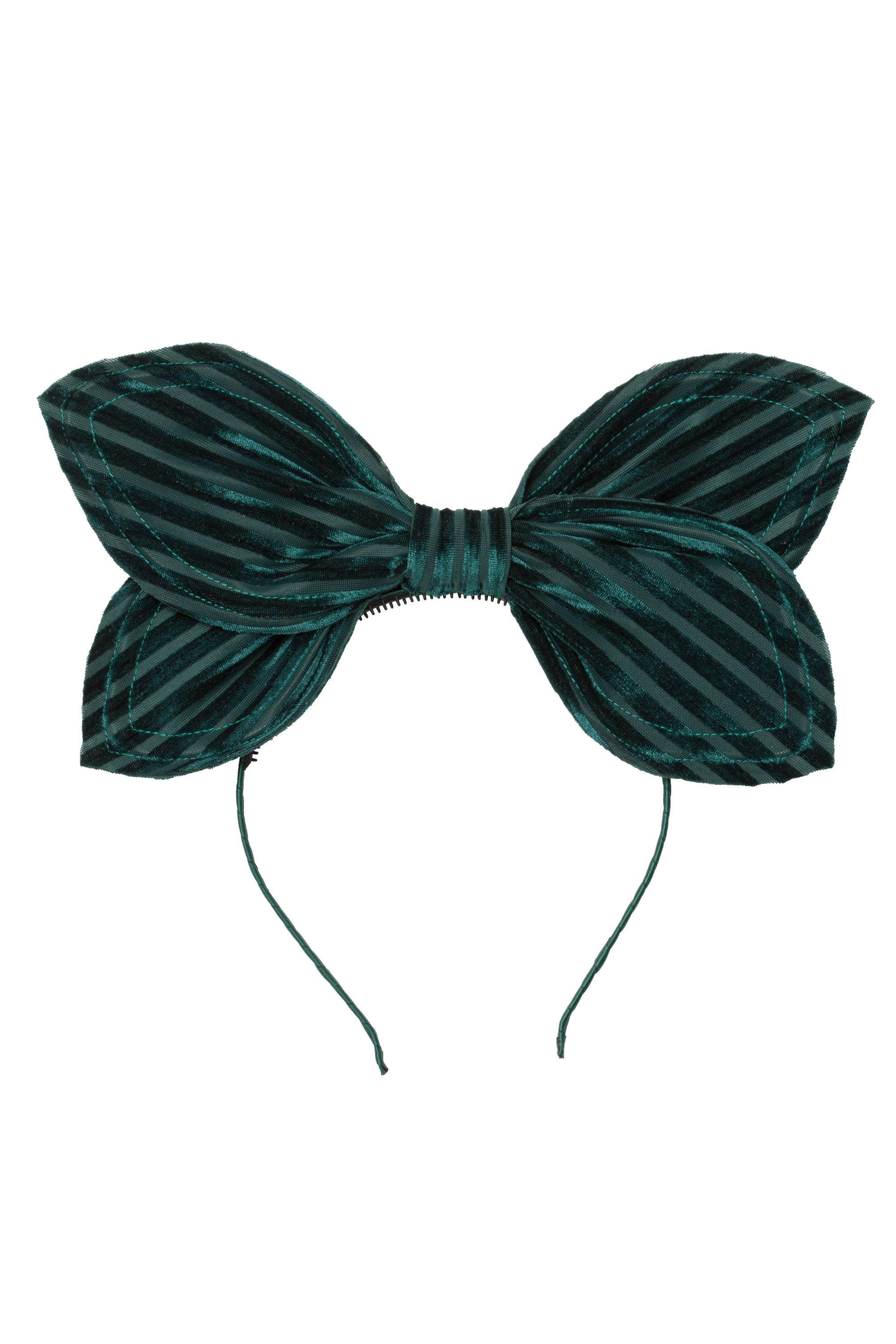 Growing Orchid Headband - Hunter Green Velvet Stripe - PROJECT 6, modest fashion