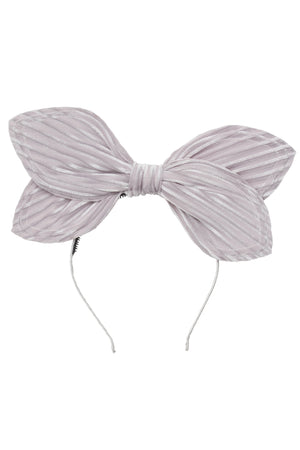 Growing Orchid Headband - Silver Velvet Stripe