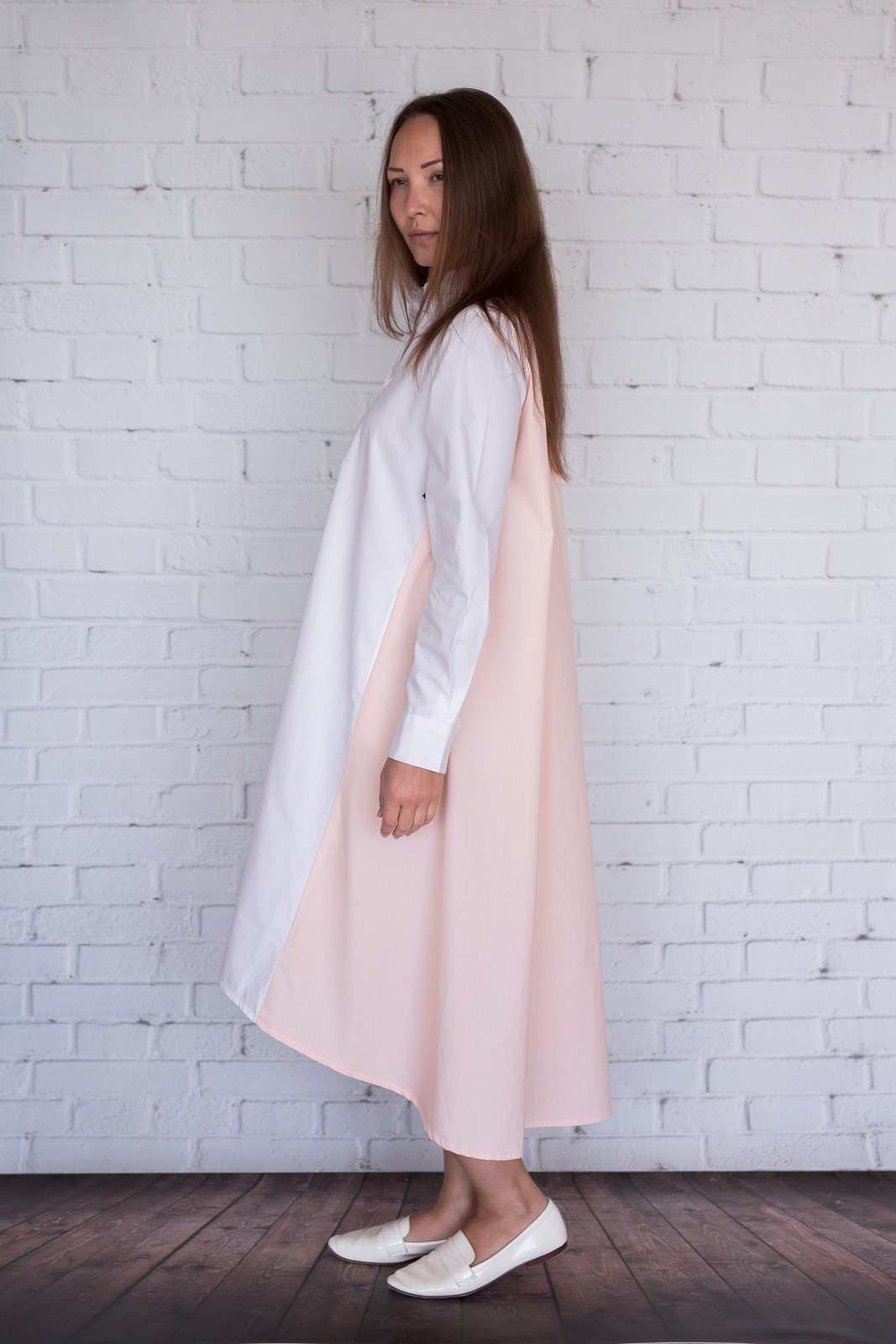 Maaya Medium - White/Light Peach Poplin - PROJECT 6, modest fashion