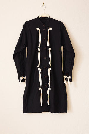 Taree Dress - Black with Natural Ties