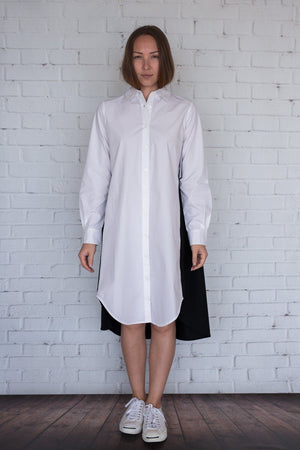 Maaya Short Length - White/Black Poplin - PROJECT 6, modest fashion