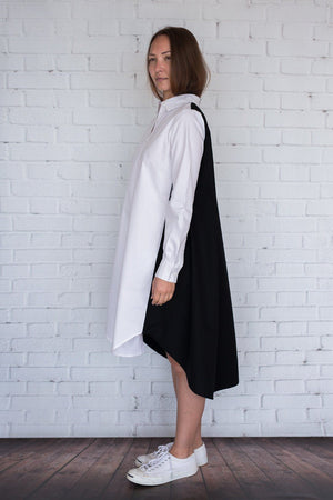 Maaya Short - White/Black Poplin - PROJECT 6, modest fashion