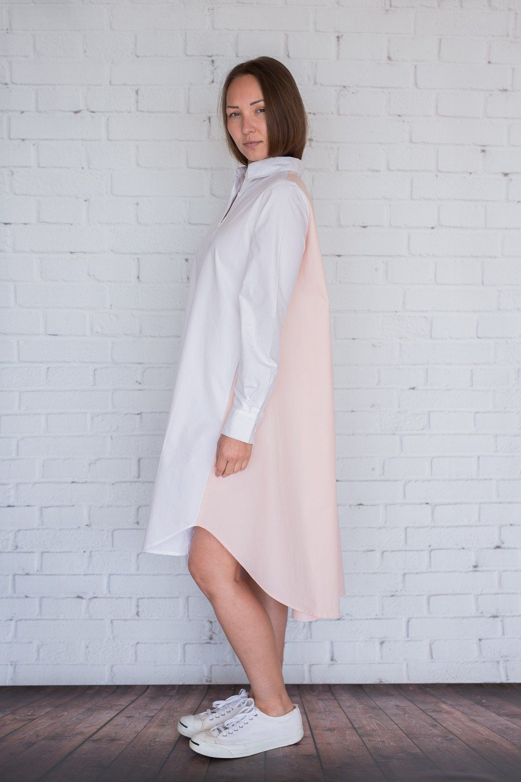 Maaya Short Length - White/Light Peach Poplin - PROJECT 6, modest fashion