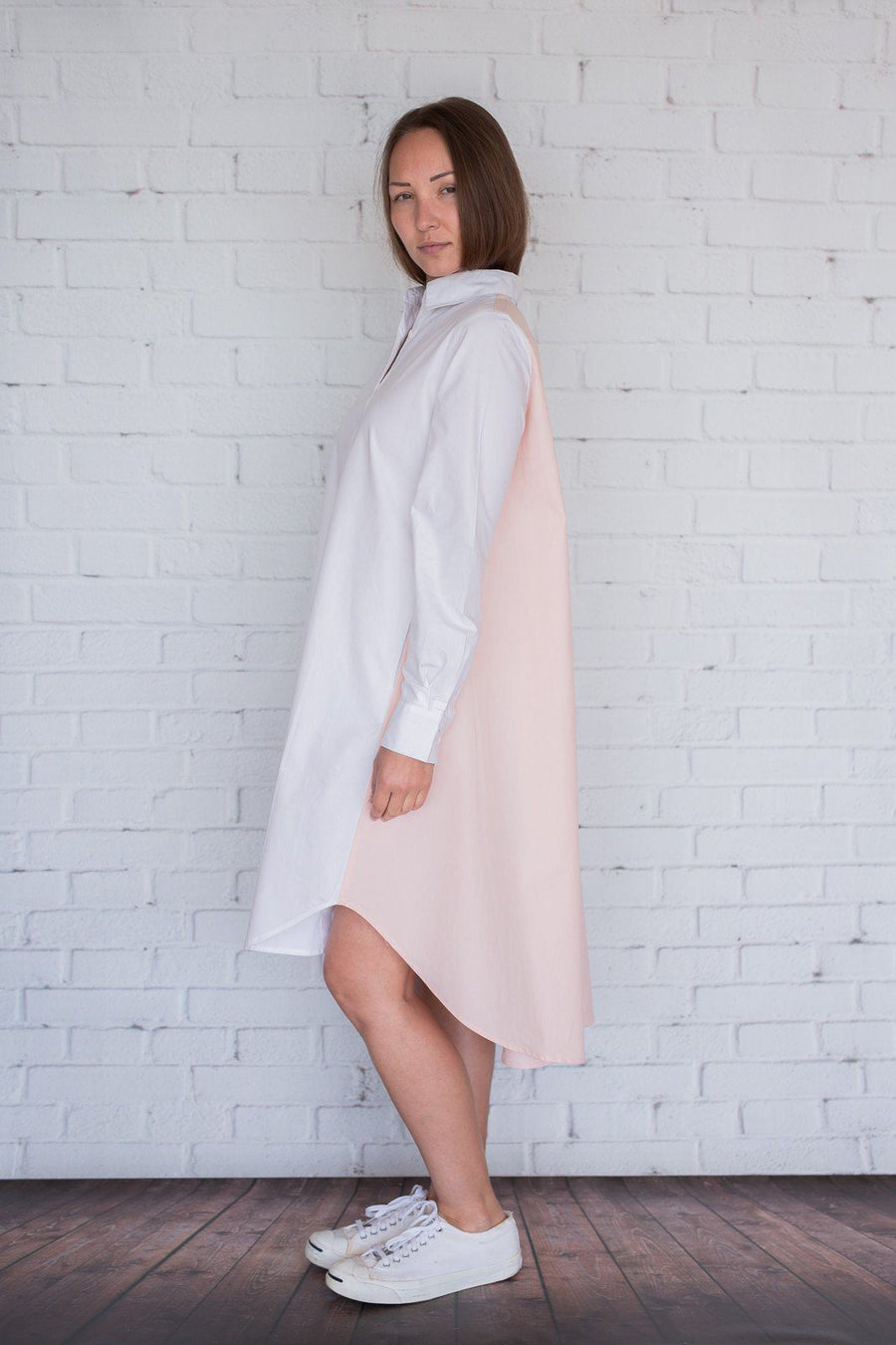 Maaya Short - White/Light Peach Poplin - PROJECT 6, modest fashion