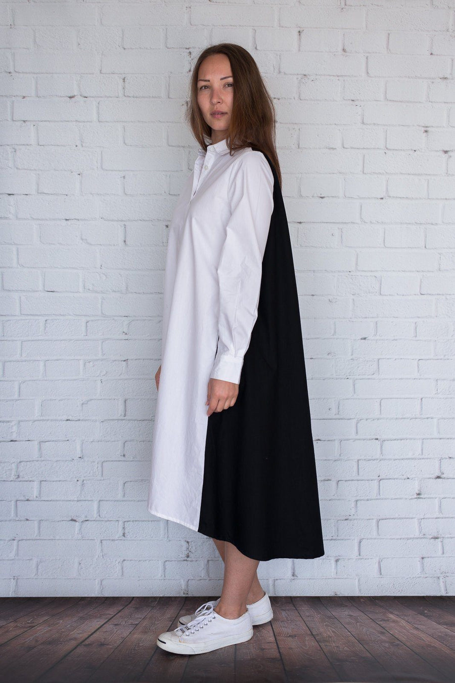Maaya Medium - White/Black Poplin - PROJECT 6, modest fashion
