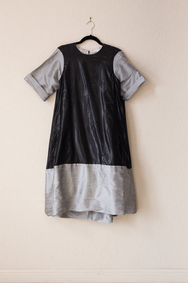 Nikki Dress - Black Shine/Silver Tussel Silk - PROJECT 6, modest fashion