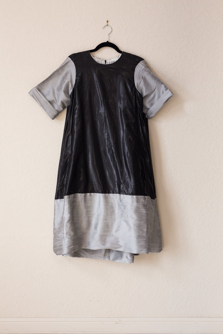 Nikki Dress - Black Shine/Silver Tussel Silk