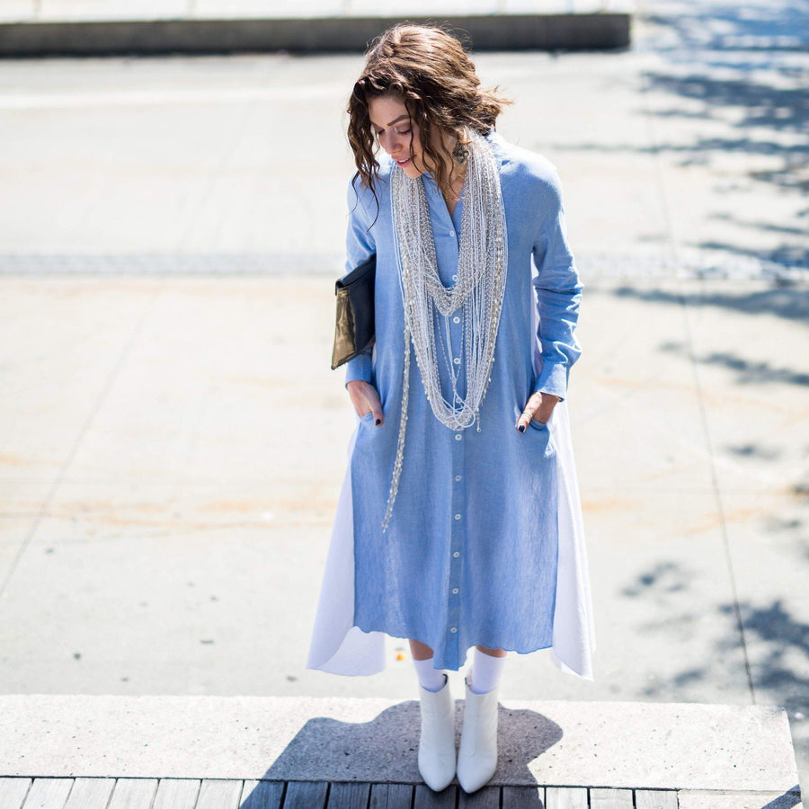 Maaya Long - Chambray/White - PROJECT 6, modest fashion
